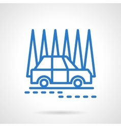 Car in a forest black line icon vector image vector image