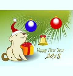 funny puppy and christmas tree for the new year vector image