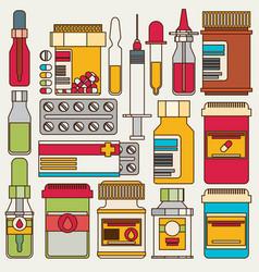 Medicine bottles collection bottles of drugs vector