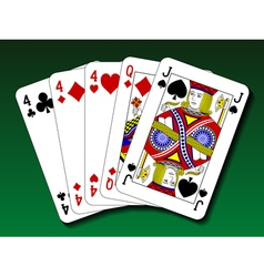 Poker hand - Three of a kind trips vector image vector image