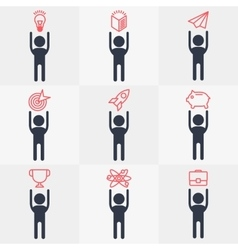 set of icon people objects vector image vector image