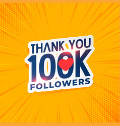 100k social media network followers yellow vector