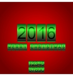 2016 New Year red green card odometer vector image