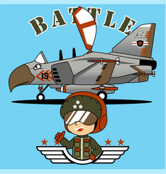 a young pilot cartoon with jet cartoon vector image