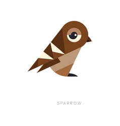 Abstract geometric symbol of brown sparrow vector