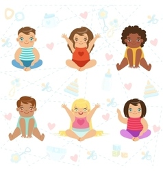 Adorable Big-Eyed Babies Sitting And Smiling Set vector image