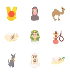 Attractions of Egypt icons set cartoon style vector