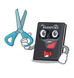 Barber black passport in a cartoon bag vector