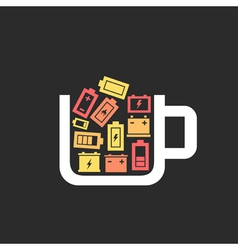 Battery a cup vector image