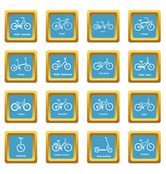 bicycle types icons set sapphirine square vector image