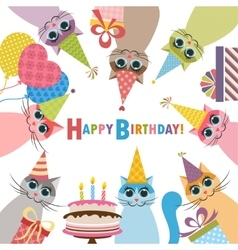 Birthday card with funny cats vector image vector image