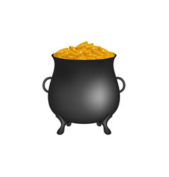 black pot with golden money coins vector image