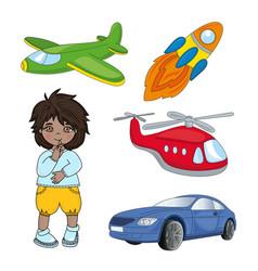 boy dreams children game cartoon vector image