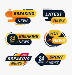 Breaking news badge template set vector