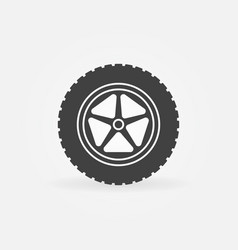 Car wheel with tire icon or logo element vector
