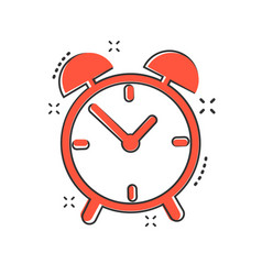 Cartoon alarm clock icon in comic style timer vector