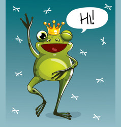 Cartoon frog prince hi vector