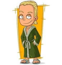 Cartoon handsome blond guy in bathrobe vector image