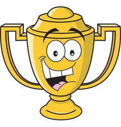 Cartoon smiling trophy vector image