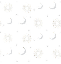 Celestial sun and moon shapes seamless pattern vector