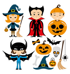cheerful halloween set vector image