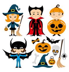 Cheerful halloween set vector