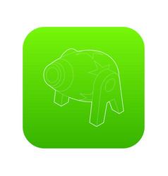 Circus cannon icon green vector