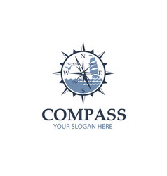compass with sailboat vector image