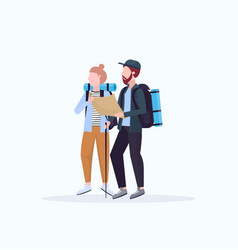 couple hikers with backpacks holding travel map vector image