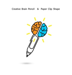 Creative brain pencil logo designPaper clip sign vector