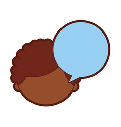 Cute african boy with speech bubble character icon vector