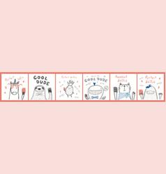 Cute animals cards set vector