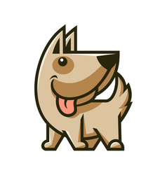 cute dog character mascot smiling puppy icon vector image