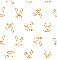 cute hand drawn simple baby bunnies seamless vector image