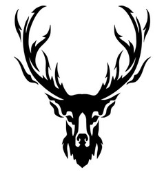 Deer with horns image design tattoo emblem vector