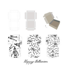 Die cut paper carton boxes with halloween design vector