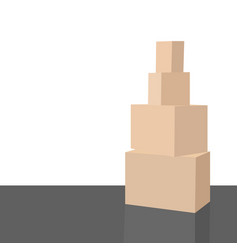 empty room with a white wall and moving boxes on vector image