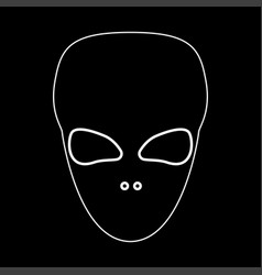 Extraterrestrial alien face or head white color vector