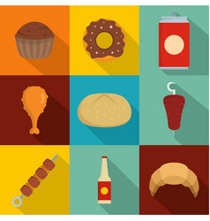 Fat snack icons set flat style vector