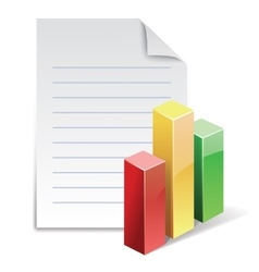 File with stat bar graph vector image