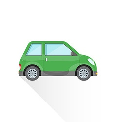 Flat green compact city car body style icon vector
