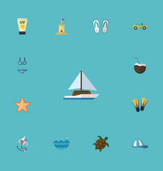 flat icons slippers beachwear sailboard and vector image