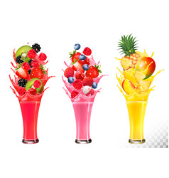 Fruit in juice splashes strawberry guava kiwi vector