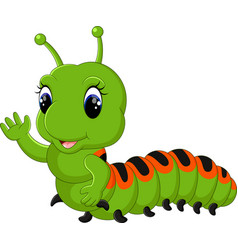 Funny caterpillar runs on a tree branch vector