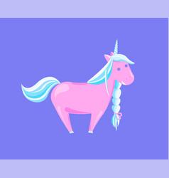 Girlish unicorn with rainbow mane and sharp horn vector