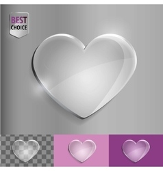 Glass bubble love heart icon with soft shadow on vector image
