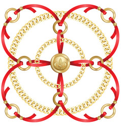 Golden chains and red ribbons medallion pattern vector