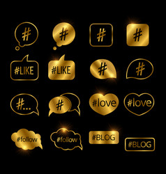 Golden hashtag post social media icons vector