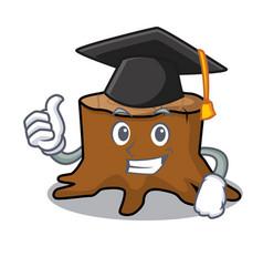 Graduation tree stump character cartoon vector