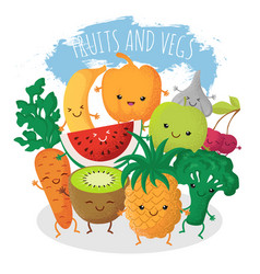 Group of funny fruit and vegetables friends vector